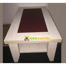 Coffee table middle coffee table MDF artificial leather. Quality Heavy MDF LAM upper middle section is covered with artificial leather. In good condition